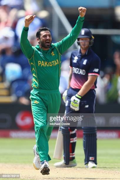 Junaid Khan of Pakistan celebrates capturing the wicket of Jos Buttler during the ICC Champions Trophy SemiFinal match between England and Pakistan...