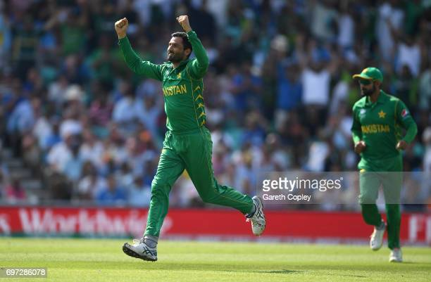 Junaid Khan of Pakistan celebrates dismissing Ravindra Jadeja of India during the ICC Champions Trophy Final between India and Pakistan at The Kia...