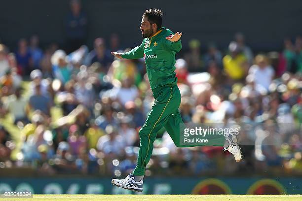 Junaid Khan of Pakistan celebrates the wicket of Peter Handscomb of Australia before being called for a no ball during game three of the One Day...