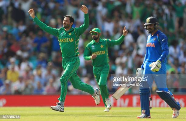 Junaid Khan of Pakistan celebrates the wicket of Ravindra Jadeja of India after he was caught by Babar Azam during the ICC Champions Trophy Final...