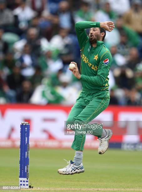 Junaid Khan of Pakistan during the ICC Champions Trophy match between Sri Lanka and Pakistan at SWALEC Stadium on June 12 2017 in Cardiff Wales