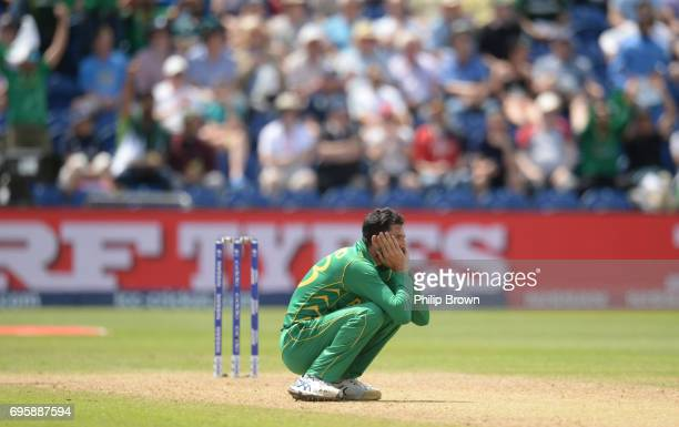 Junaid Khan of Pakistan looks on as Moeen Ali of England is caught during the ICC Champions Trophy match between England and Pakistan at Swalec...