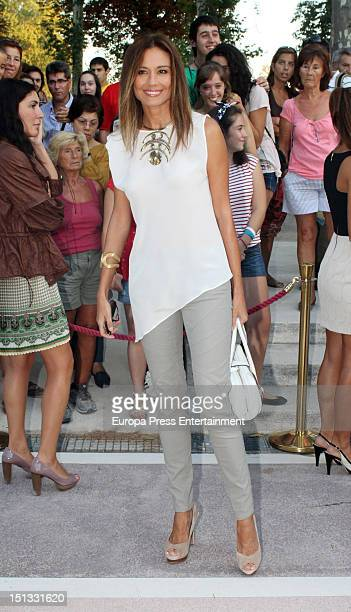 Juncal Rivero attends the painting exhibition of Carla Duval at Casa de Vacas on September 5 2012 in Madrid Spain