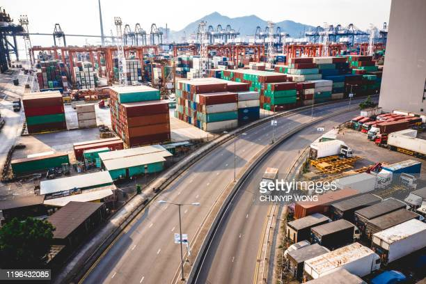 junction in hong kong - cargo container stock pictures, royalty-free photos & images