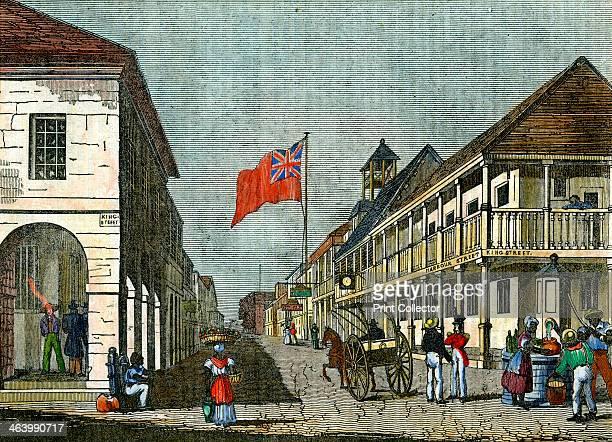 Junction of Harbour Street and King Street Kingston Jamaica c1835