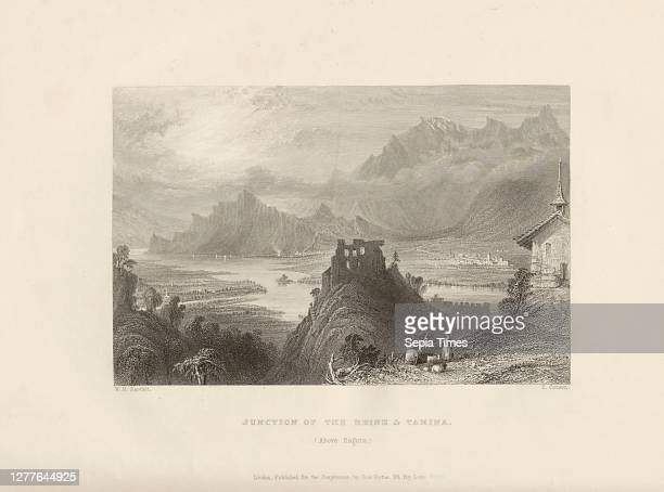 Junction of the Rhine & Tamina. , confluence of the Rhine and the Tamina near Bad Ragaz, foreground: Ruin Wartenstein, right: Maienfeld, in the...