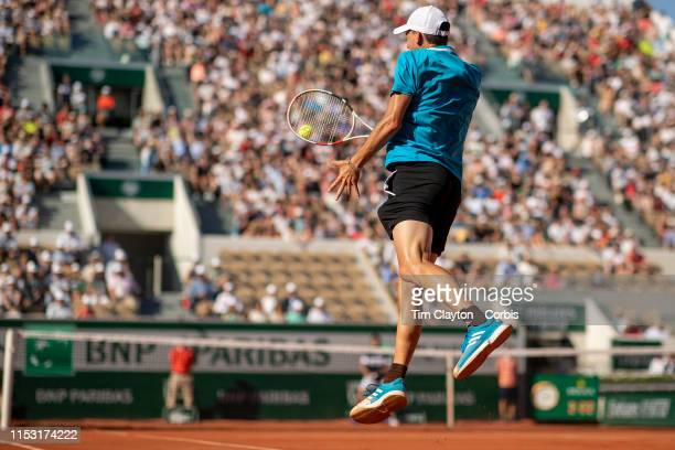 June 01 Dominic Thiem of Austria in action against Pablo Cuevas of Uruguay during the Men's Singles third round match on Court Suzanne Lenglen at the...