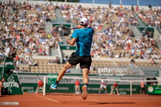 June 01. Dominic Thiem of Austria in action against Pablo Cuevas of Uruguay during the Men's Singles third round match on Court Suzanne Lenglen at...