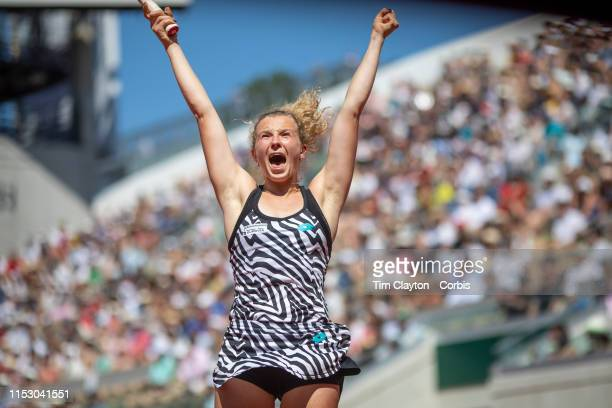 June 01 Katerina Siniakova of the Czech Republic celebrates her victory against Naomi Osaka of Japan during the Women's Singles third round match on...