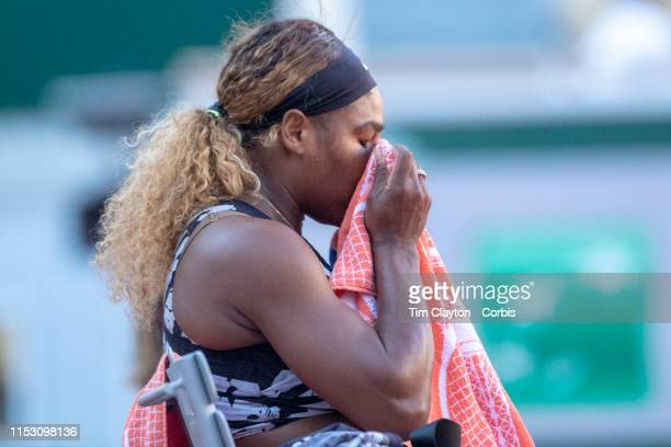 June 01 Serena Williams of the United States during her loss against Sofia Kenin of the United States during the Women's Singles third round match on...