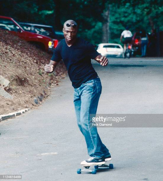 Singer/Songwriter Seal skateboards backstage before his performance at Chastain Park Amphitheater in Atlanta Ga on June 01 1995