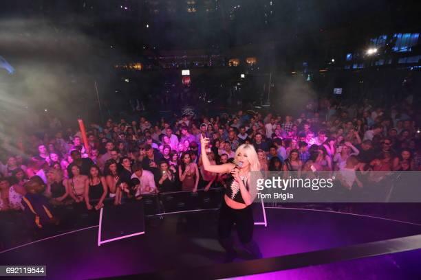 Bebe Rexha performs at The Pool After Dark at Harrah's Resort on Friday June 2 2017 in Atlantic City New Jersey