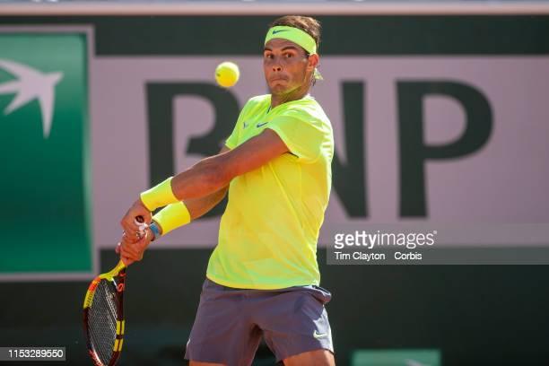 June 02 Rafael Nadal of Spain in action against Juan Ignacio Londero of Argentina during the Men's Singles fourth round match on Court...