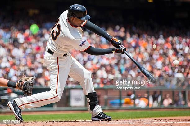 San Francisco Giants right fielder Justin Maxwell at bat during the game between the San Francisco Giants and the Pittsburgh Pirates at ATT Park in...