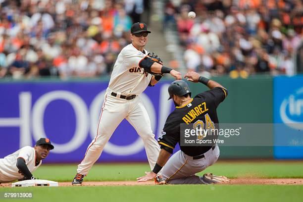 San Francisco Giants second baseman Joe Panik makes the first part of a double play as Pittsburgh Pirates first baseman Pedro Alvarez slides into...