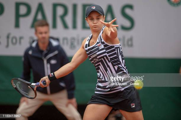 June 03 Ashleigh Barty of Australia in action against Sofia Kenin of the United States during the Women's Singles fourth round match on Court...