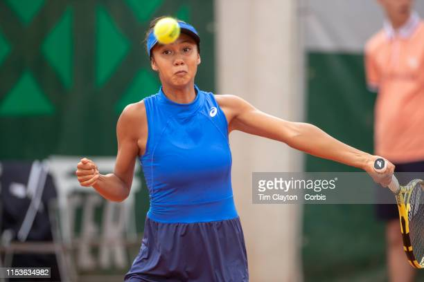 June 04 Leylah Annie Fernandez of Canada in action against Marta Custic of Spain on Court Nine during the Girls' Singles second round match at the...