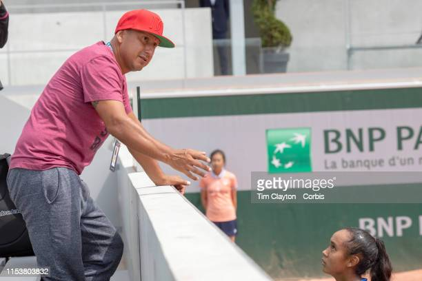 June 04 Leylah Annie Fernandez of Canada with father and coach Jorge Fernandez after her win against Marta Custic of Spain on Court Nine during the...