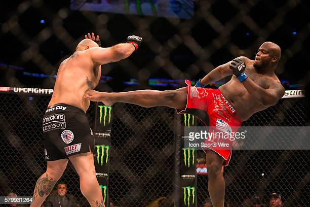 June 06 2015 Shawn Jordan battles with Derrick Lewis during their heavyweight bout at UFC Fight Night at Smoothie King Center in New Orleans LA Shawn...