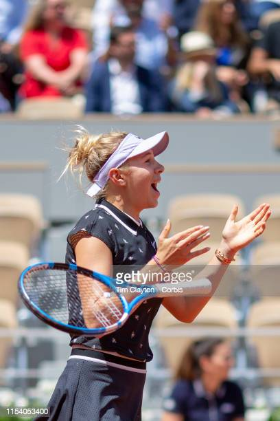June 06 Amanda Anisimova of the United States reacts to her victory against Simona Halep of Romania on Court PhilippeChatrier during the Women's...