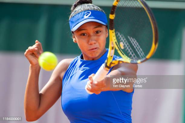 June 06 Leylah Annie Fernandez of Canada in action against Sohyun Park of Korea on Court Eight during the Girls' Singles third round match at the...