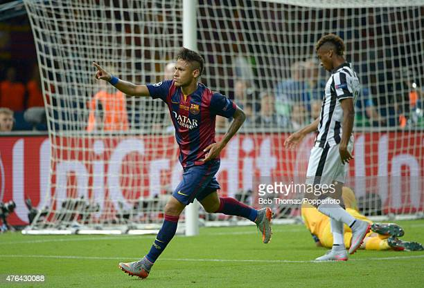 Neymar celebrates after scoring Barcelona's third goal during the UEFA Champions League Final between Juventus and FC Barcelona at Olympiastadion on...