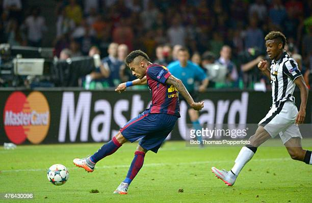 June 06: Neymar scores Barcelona's third goal during the UEFA Champions League Final between Juventus and FC Barcelona at Olympiastadion on June 6,...