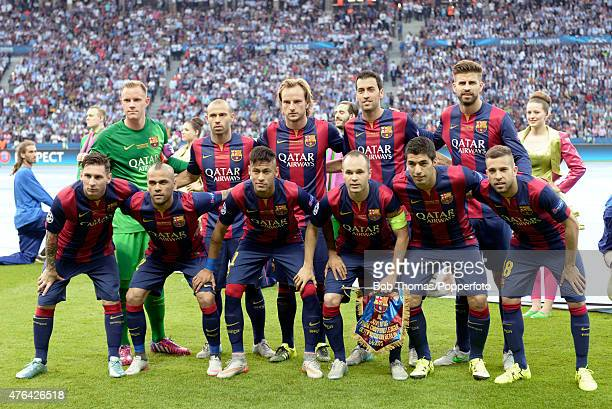 June 06: The Barcelona team before the start of the UEFA Champions League Final between Juventus and FC Barcelona at Olympiastadion on June 6, 2015...