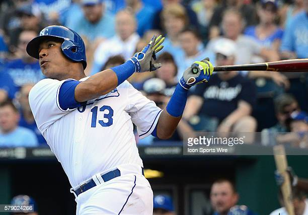 Kansas City Royals' catcher Salvador Perez hits an RBI single in the second inning during a game between the New York Yankees and the Kansas City...