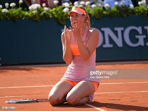 Maria Sharapova of Russia celebrates winning the women's singles title at the French Open 2014, played at Stade Roland Garros, Paris, France