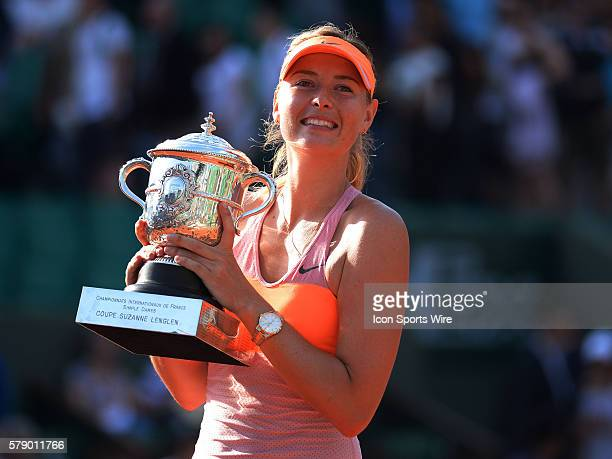 Maria Sharapova of Russia posing with trophy after winning the Woman's Singles title at the French Open 2014, played at Stade Roland Garros, Paris,...