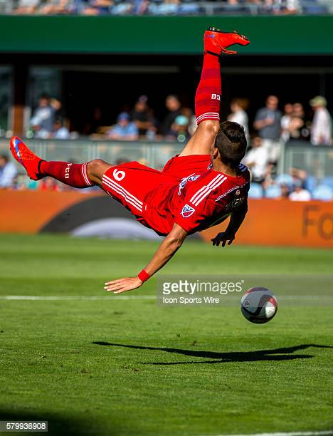 FC Dallas forward David Texeira falls to the ground after a failed bicycle kit in t front of the Quakes goal during the game between the San Jose...