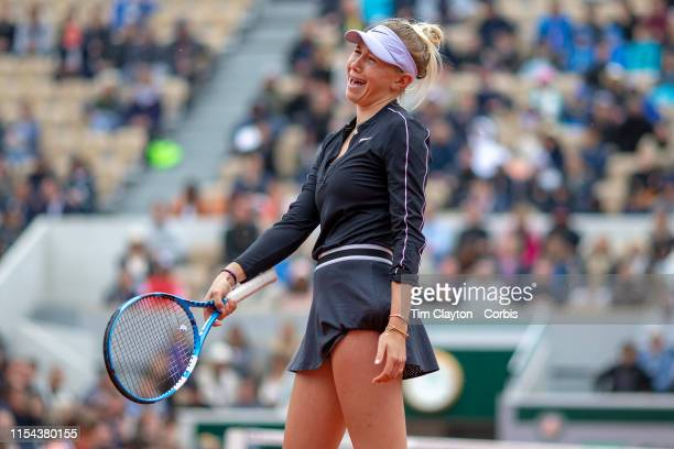 June 07 Amanda Anisimova of the United States reacts during her loss against Ashleigh Barty of Australia on Court Suzanne Lenglen during the Women's...