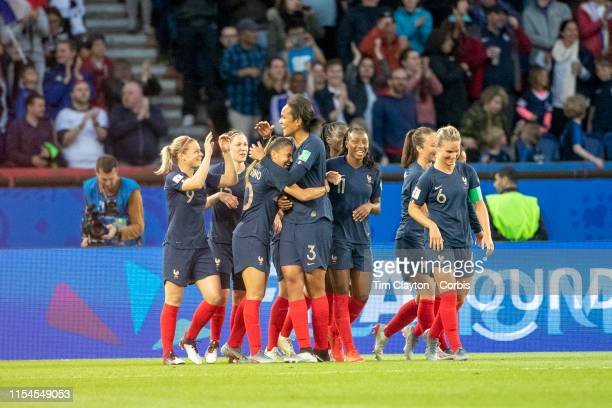 June 07 Wendie Renard of France celebrates with Amel Majri of France after scoring her second goal of the match during the France V South Korea Group...