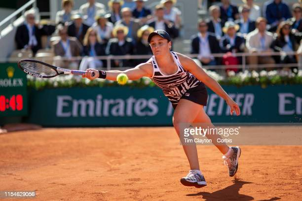 June 08. Ashleigh Barty of Australia in action against Marketa Vondrousova of the Czech Republic on Court Philippe-Chatrier during the Women's...