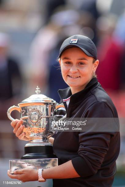 June 08. Ashleigh Barty of Australia with the trophy after her victory against Marketa Vondrousova of the Czech Republic on Court Philippe-Chatrier...
