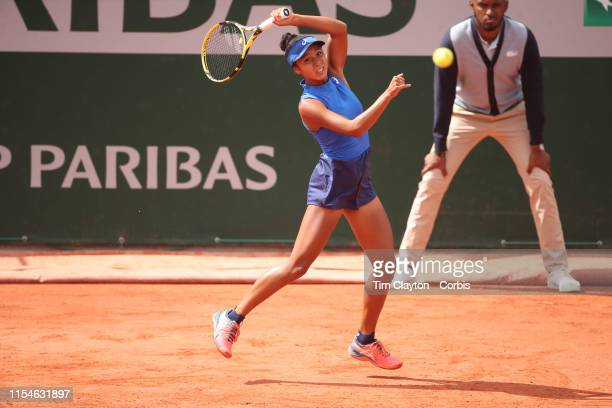 June 08 Winner Leylah Annie Fernandez of Canada in action against Emma Navarro of the United States on Court Fourteen during the Girls' Singles Final...