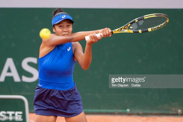 June 08. Winner Leylah Annie Fernandez of Canada in action against Emma Navarro of the United States on Court Fourteen during the Girls' Singles...