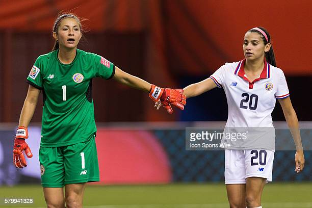 Costa Rica forward Wendy Acosta congratulates teammate goalkeeper Dinnia Diaz during the 2015 FIFA Women's World Cup Group E match between Spain and...