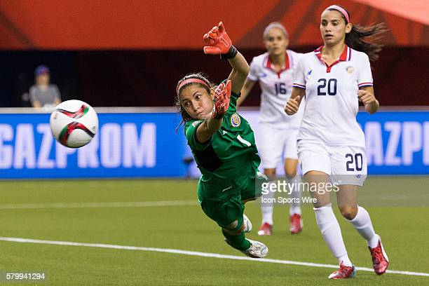 Costa Rica goalkeeper Dinnia Diaz dives during the 2015 FIFA Women's World Cup Group E match between Spain and Costa Rica at the Olympic Stadium in...
