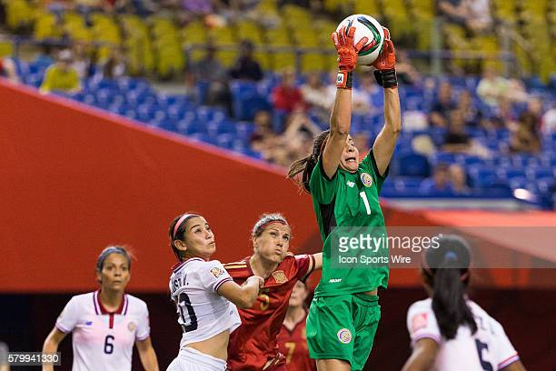 Costa Rica goalkeeper Dinnia Diaz jumps to catch the ball during the 2015 FIFA Women's World Cup Group E match between Spain and Costa Rica at the...