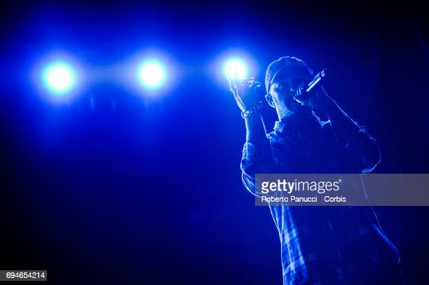 Italian rapper Salmo performs on stage on June 9 2017 in Bari Italy