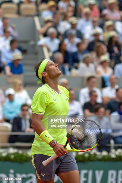 June 09 Rafael Nadal of Spain in action against Dominic Thiem of Austria during the Men's Singles Final on Court PhilippeChatrier at the 2019 French...