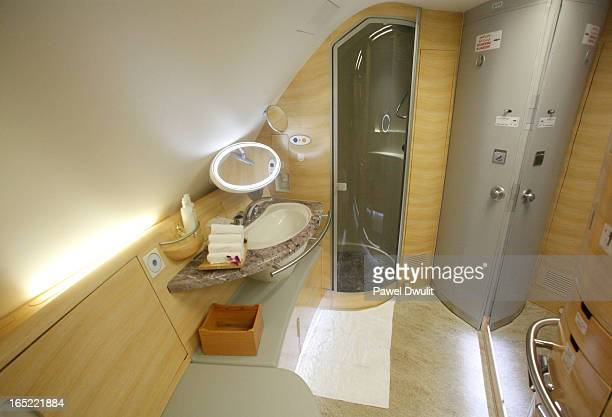 June 1 2009 A washroom with a shower is seen aboard the Emirates Airbus A380 which arrived at Pearson International airport in Mississauga Ontario...