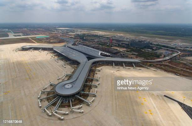 June 1, 2020 -- Aerial photo taken on April 11, 2020 shows the expansion project of Haikou Meilan International Airport in Haikou, the capital city...