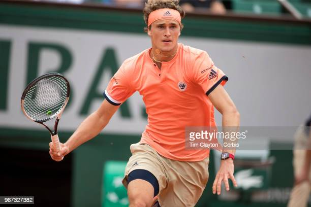 June 1 French Open Tennis Tournament Day Six Alexander Zverev of Germany in action against Damir Dzumhur of Bosnia and Herzegovina on Court...