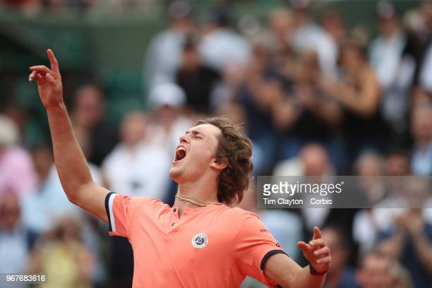 June 1 French Open Tennis Tournament Day Six Alexander Zverev of Germany celebrates his five set win against Damir Dzumhur of Bosnia and Herzegovina...