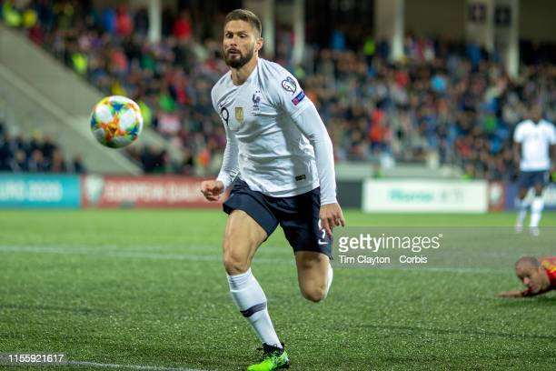 June 1. Olivier Giroud of France in action during the Andorra V France 2020 European Championship Qualifying, Group H match at the Estadi Nacional...