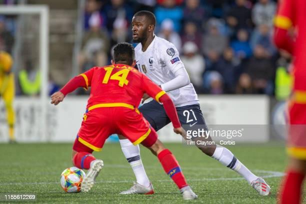 VELLA ANDORRA June 1 Tanguy Ndombele of France defended by Jordi Alaez of Andorra during the Andorra V France 2020 European Championship Qualifying...