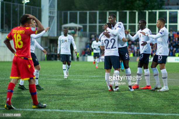 VELLA ANDORRA June 1 Wissam Ben Yedder of France is congratulated by Paul Pogba of France after scoring a goal during the Andorra V France 2020...
